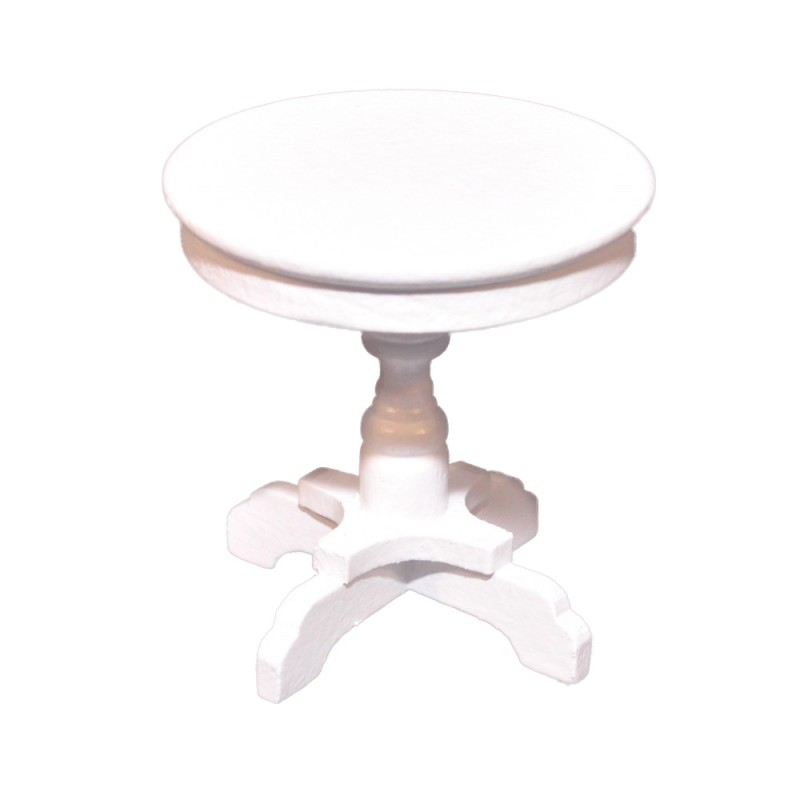 Dolls House Round White Side Table Shabby Chic 1:12 Living Room Furniture