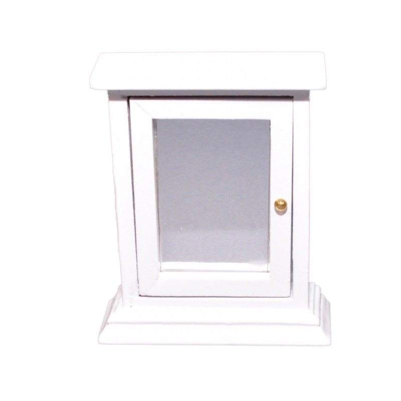 Dolls House White Medicine Cabinet with Mirror Door Miniature Bathroom Furniture