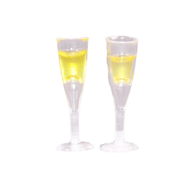Dolls House 2 Full Champagne Flutes Prosecco Glasses Pub Bar Dining Accessory