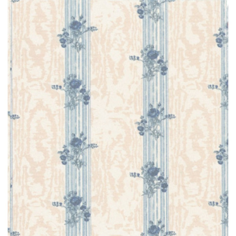 Dolls House Reflections Blue Miniature Print 1:12 Scale Wallpaper 3 Sheets