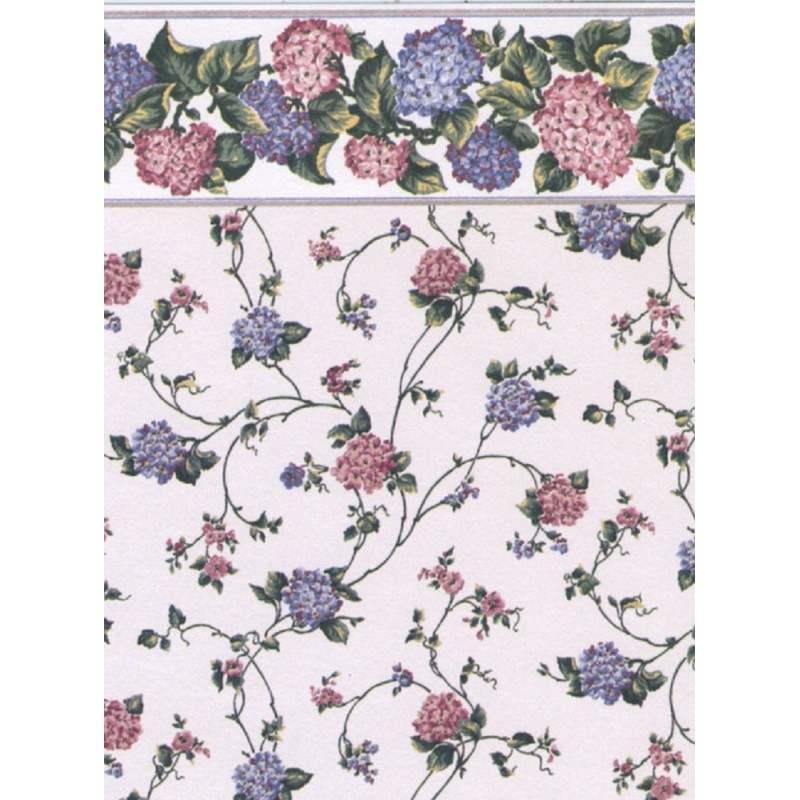 Dolls House Kismet Pink Miniature Print 1:12 Scale Wallpaper 3 Sheets