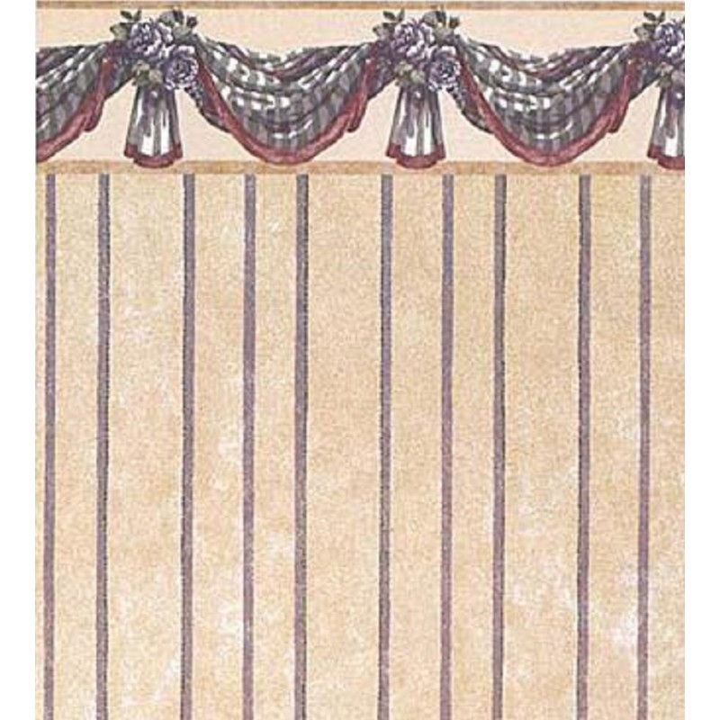 Dolls House Benjamin Swag Blue Miniature Print 1:12 Scale Wallpaper 3 Sheets