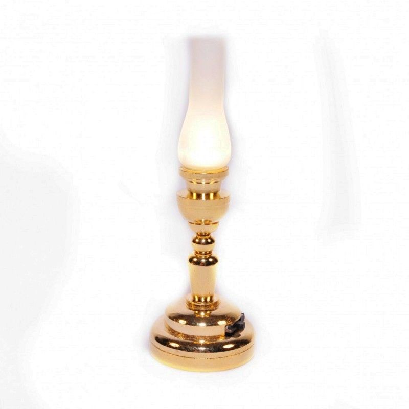 Dolls House Brass Hurricane Oil Lamp Frosted Shade LED Battery Lighting 1:12