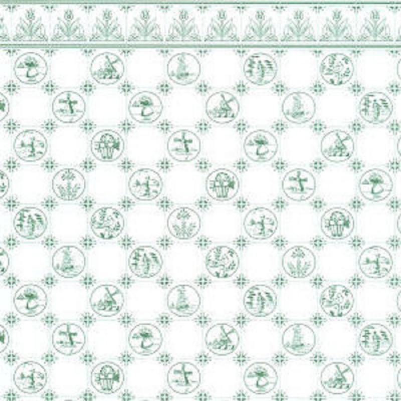 Dolls House Green & White Dutch Tile Effect Miniature Print Kitchen Wallpaper