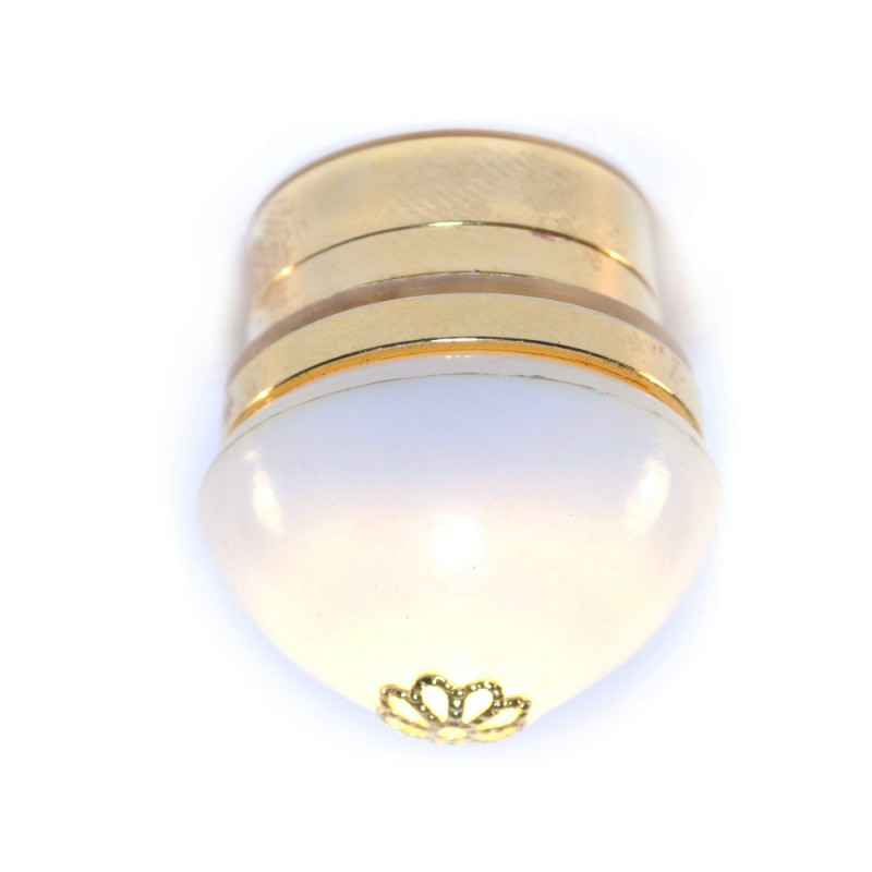 Dolls House Round Flush Ceiling Light White Shade Brass LED  Battery Lighting