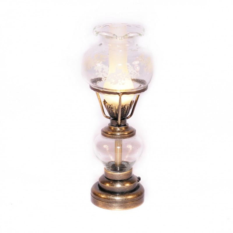 Dolls House Antique Brass Oil Lamp Fancy Glass Shade LED Battery Lighting