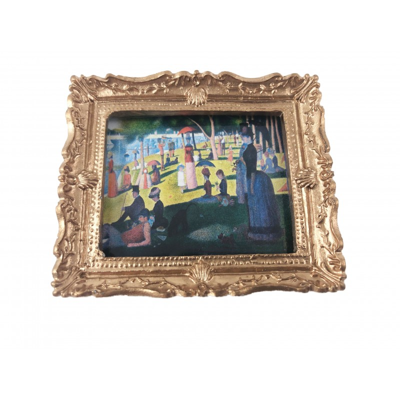 Dolls House Gold Framed A Sunday on La Grande Jatte Picture Painting Accessory
