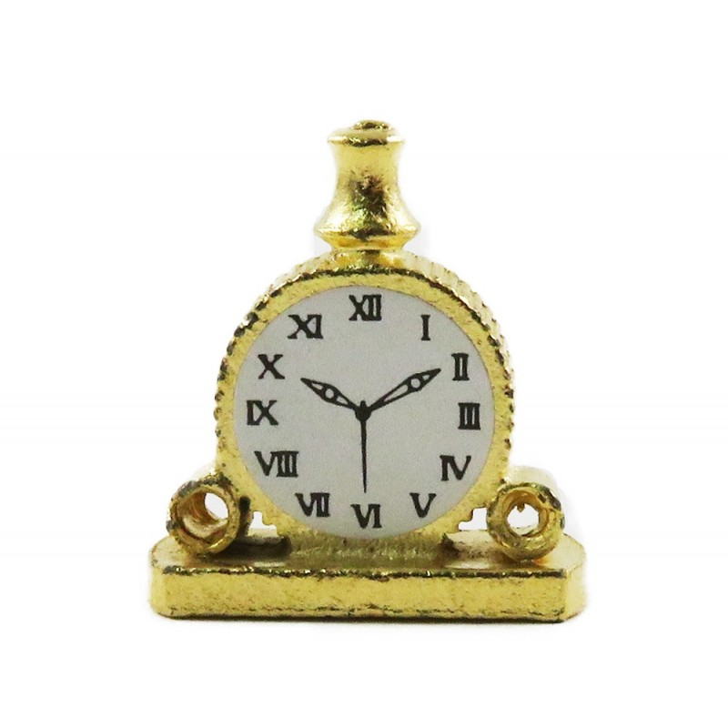 Dolls House Gold Double Scroll Mantle Clock Miniature 1:12 Ornament Accessory