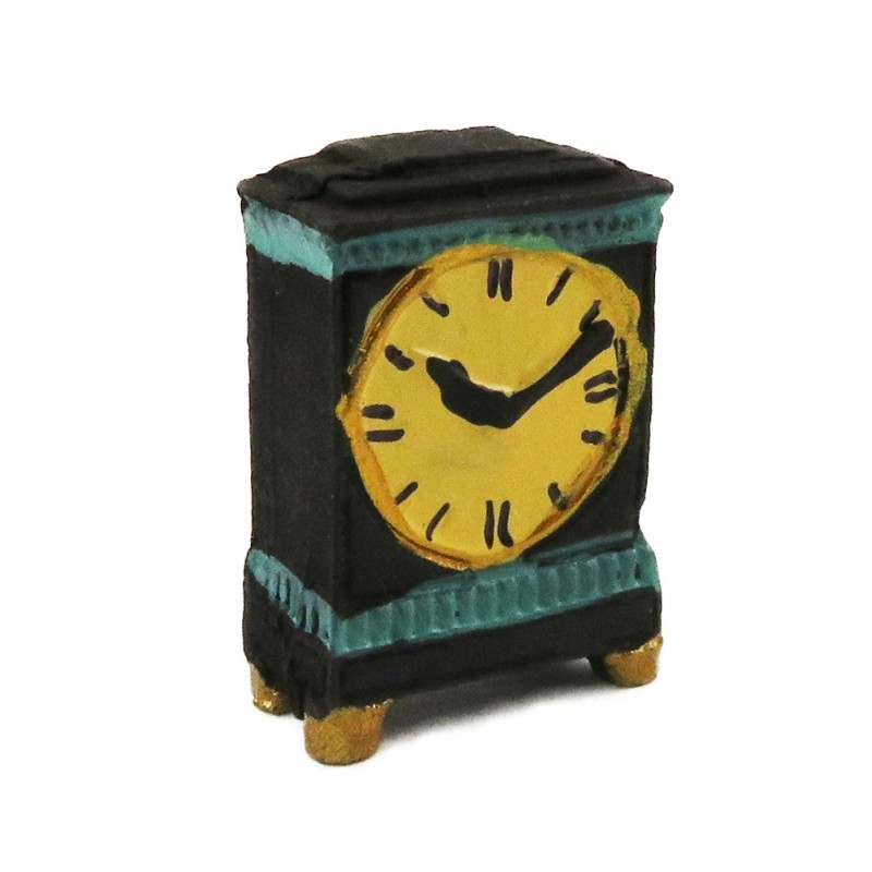 Dolls House Georgian Black & Green Mantle Clock Miniature Ornament Accessory