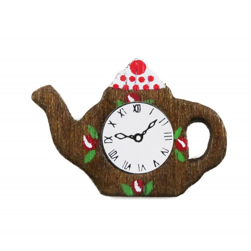 Dolls House Teapot Wall Clock Wooden Miniature Kitchen Ornament Accessory