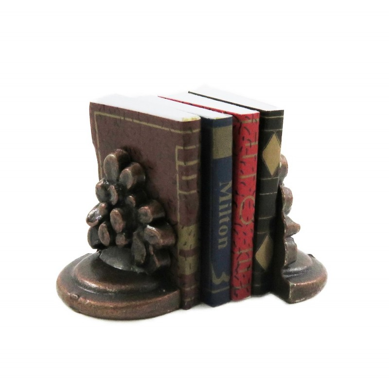 Dolls House Books & Bronze Flower Bookends Office Study Bookshelf Accessory
