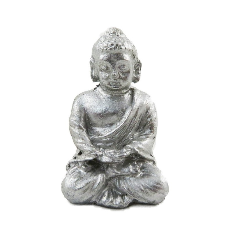 Dolls House Silver Sitting Buddha Ornament Miniature 1:12 Living Room Accessory