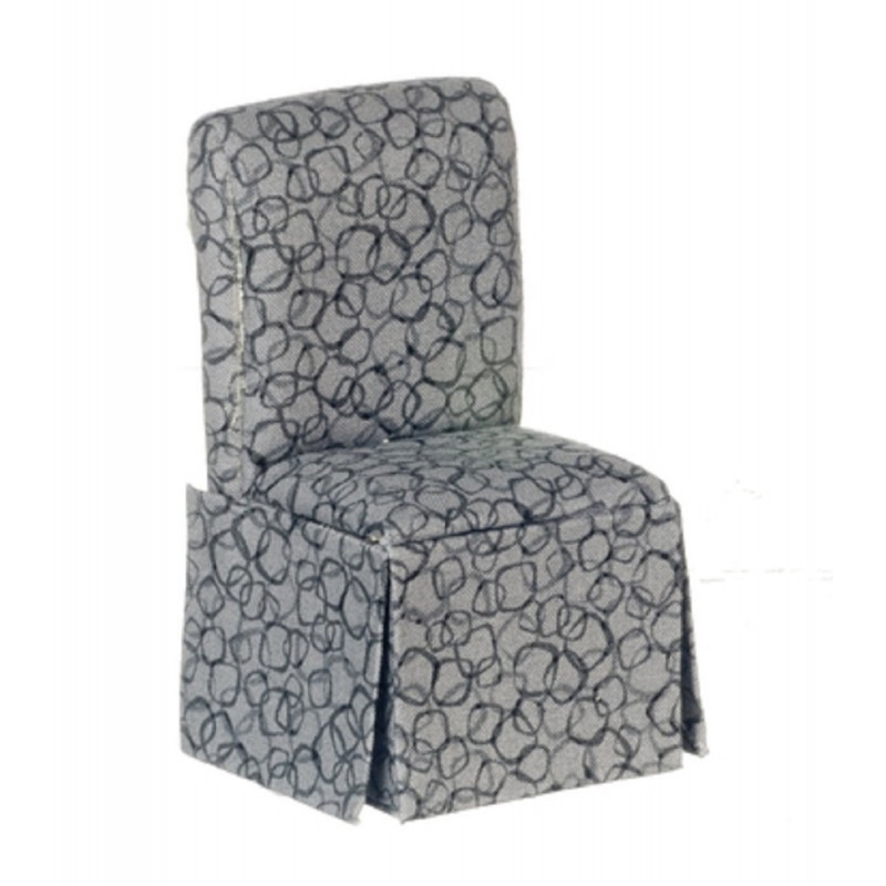 Dolls House Modern Grey Slipper Side Chair Miniature Dining Room Furniture
