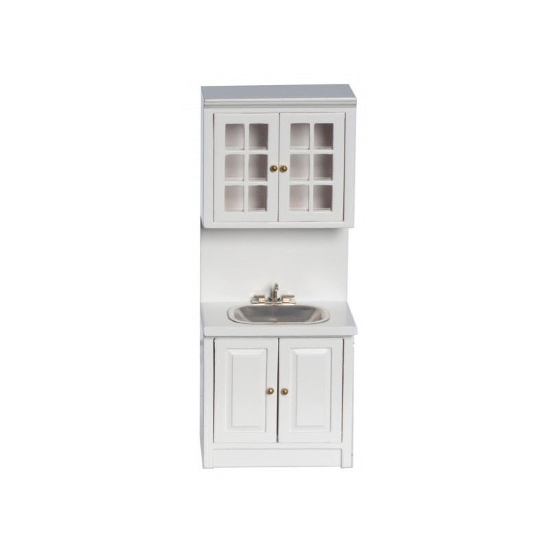 Dolls House White Raven Sink & Wall Unit Miniature Fitted Kitchen Furniture
