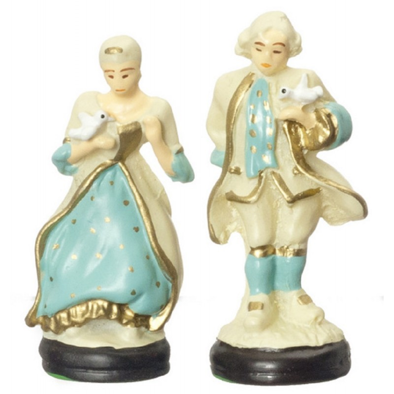 Dolls House Colonial Couple Lady & Gent Figurines Miniature Ornament Accessory
