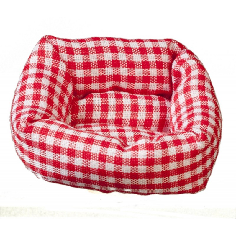 Dolls House Check Dog Cat Bed Red Gingham Fabric 1:12 Pet Accessory