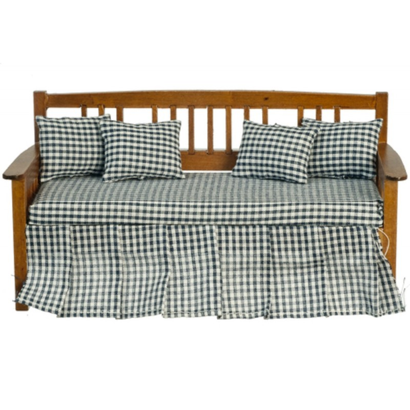 Dolls House Day Bed Walnut Blue Check Sofa & Cushions Living Room Furniture