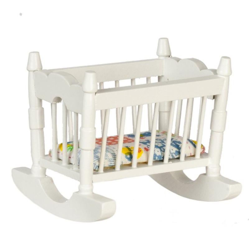 Dolls House Miniature 1:12 Nursery Furniture White Wood Rocking Cradle Cot Crib
