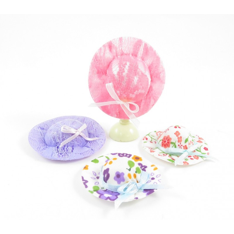 Dolls House 4 Lady's Summer Hats Bedroom Milliner Shop Accessory 1:12 Scale