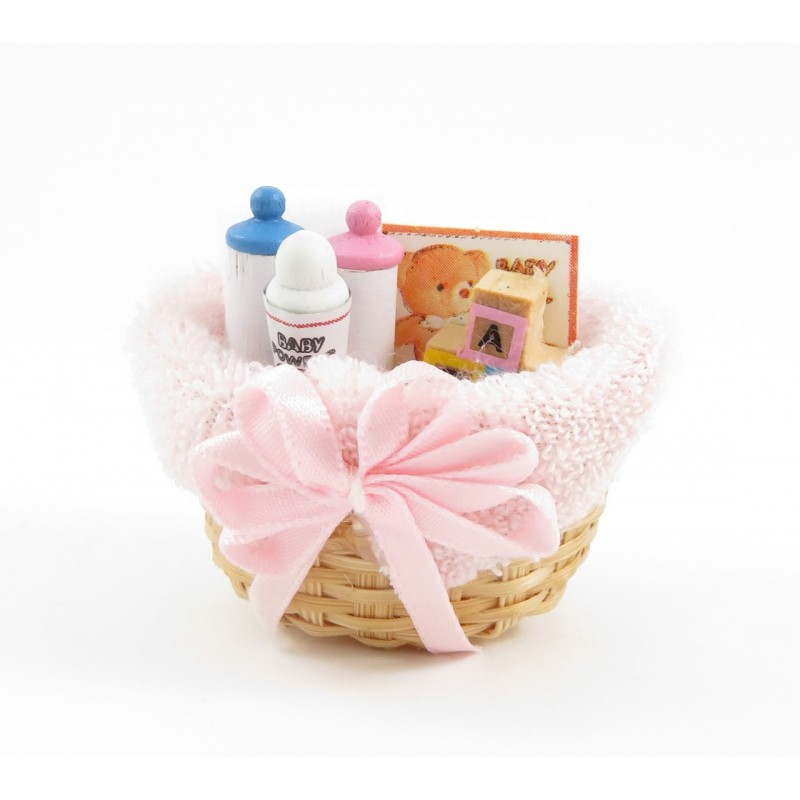 Dolls House Baby Products in Wicker Basket Pink Miniature 1:12 Nursery Accessory
