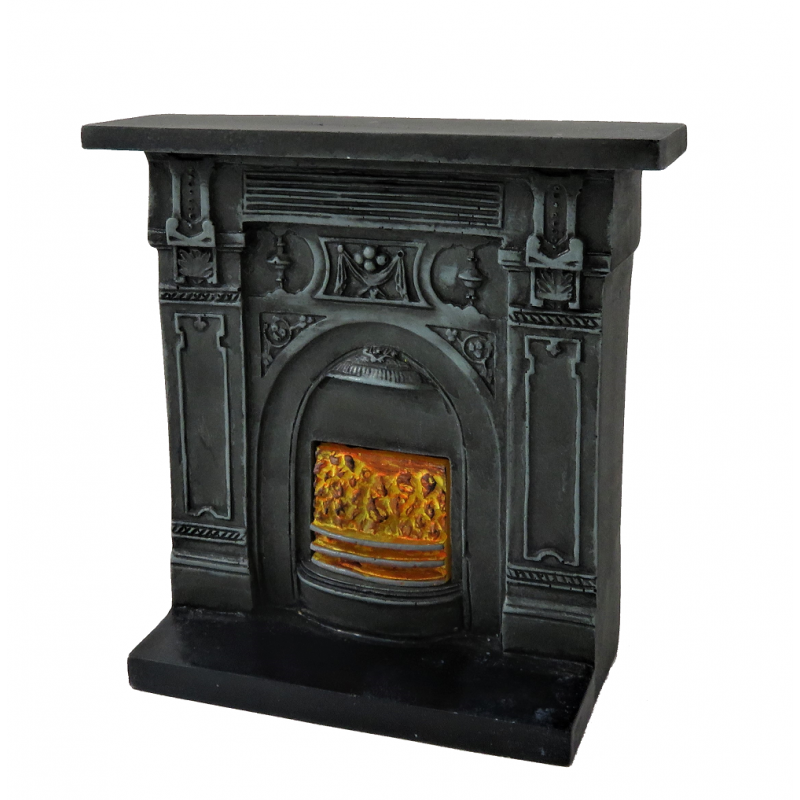 Dolls House Victorian Cast Iron Fireplace Burning Coals 1:12 Resin Furniture
