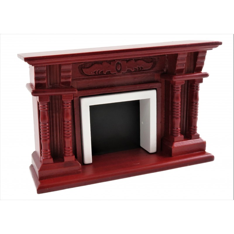 Dolls House Victorian Mahogany Double Twin Pillar Fireplace 1:12 Scale Furniture