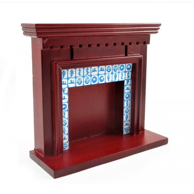 Dolls House Victorian Mahogany Delft Tile Fireplace 1:12 Scale Furniture