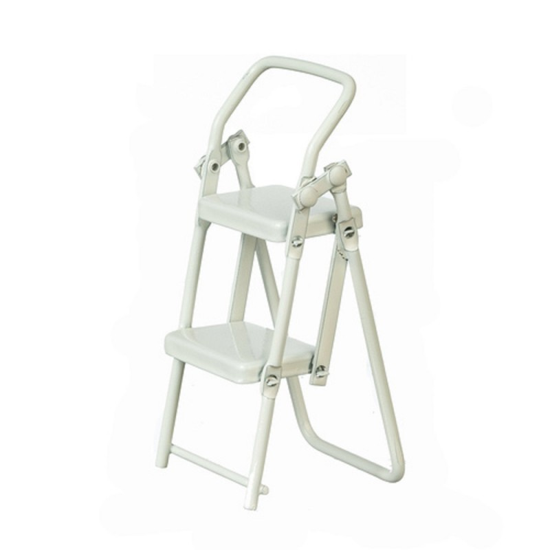 Dolls House White Metal Step Ladders Folding 2 Step Ladder Miniature Accessory