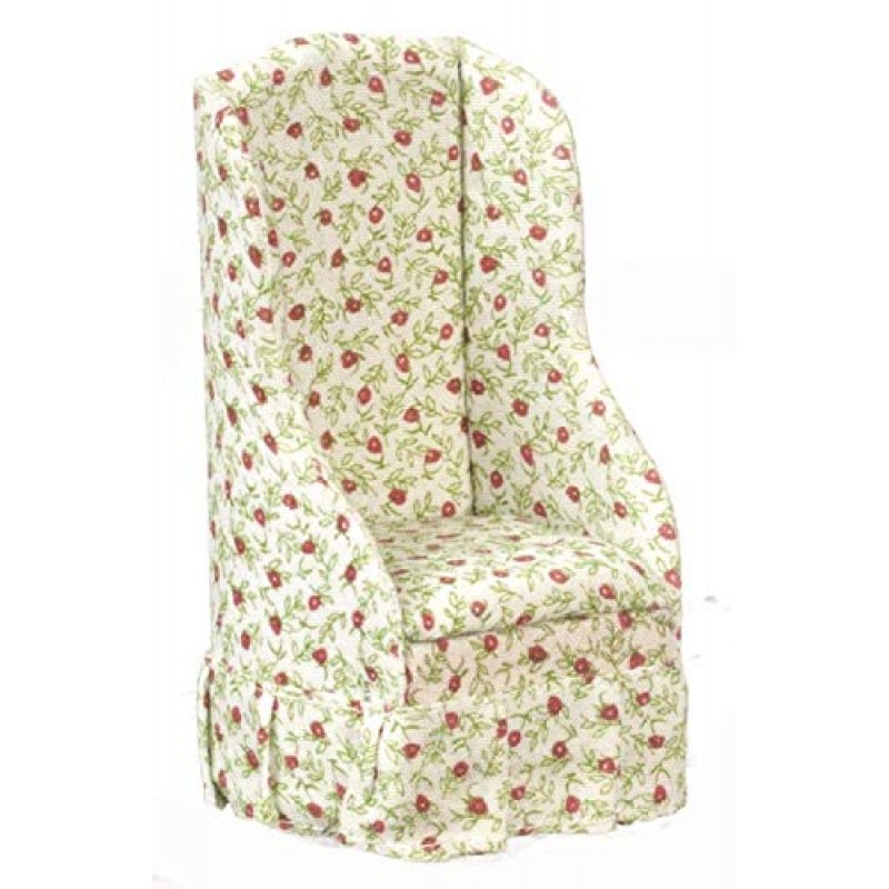 Dolls House Miniature 1:12 Scale Living Room Furniture Chintz Cherry Armchair Arm Chair