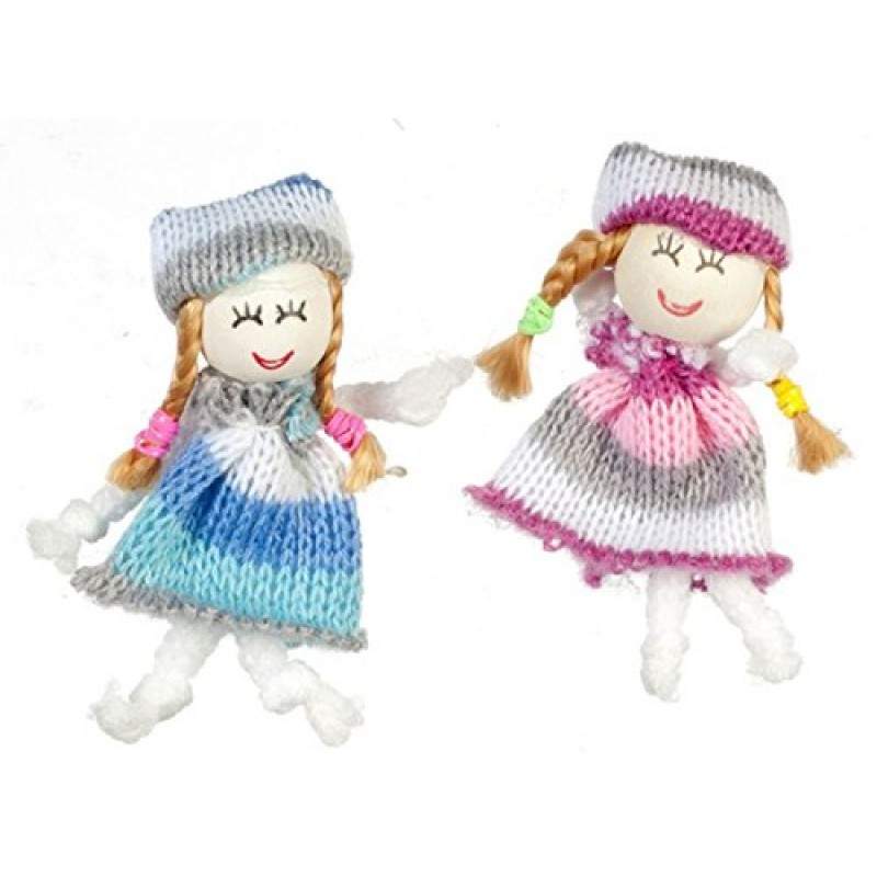 Dolls House Miniature Nursery Toy Shop Accessory 2 Little Girls Woollen Dolls