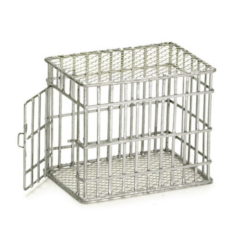 Dolls House Miniature Pet Accessory Galvanised Small Dog Cage