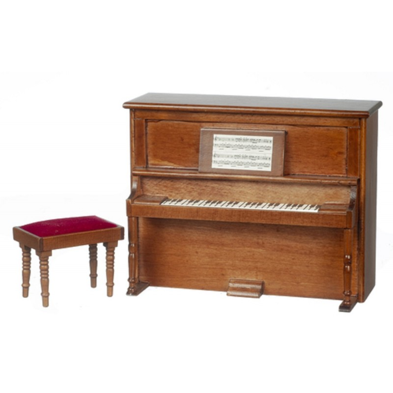 Dolls House Miniature Music Room Furniture Walnut Wooden Upright Piano and Bench