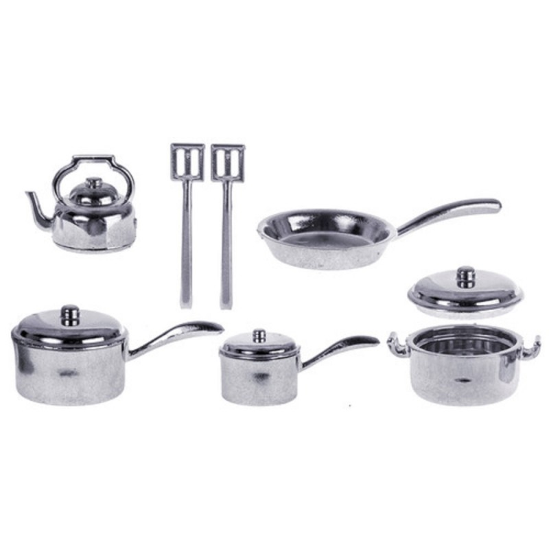 Dolls House Kitchen Accessory Chrome Saucepan Pan Set 7