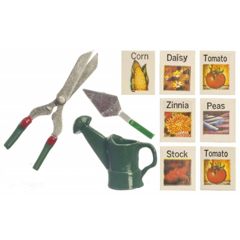 Dolls House Miniature Garden Accessory Set Seeds Watering Can Shears Trowel