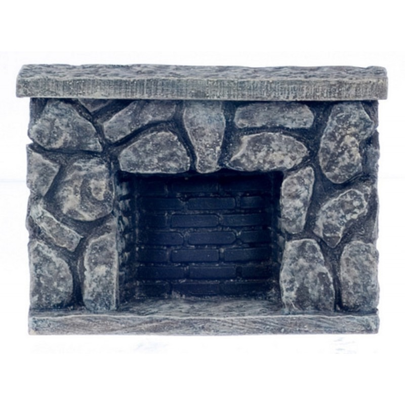 Dolls House Miniature 1:12 Scale Furniture Resin Grey Stone Fieldstone Fireplace