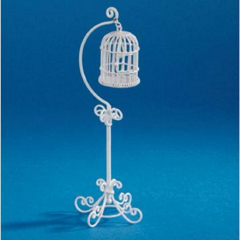 Dolls House Miniature Pet Accessosry White Wire Wrought Iron Hanging Bird Cage