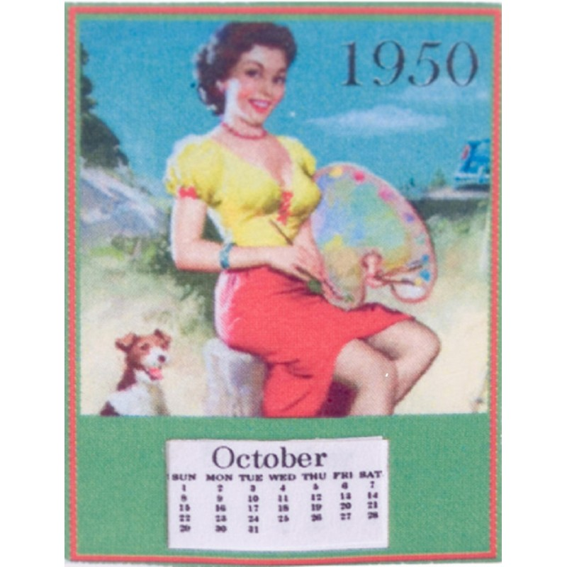 Dolls House Miniature 1:12 Scale Accessory 1950`s Pin Up Calendar Tear Off Pages