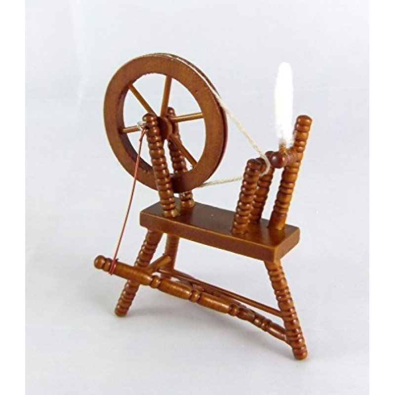Dolls House Miniature Sewing Room Furniture Walnut Wood Spinning Wheel