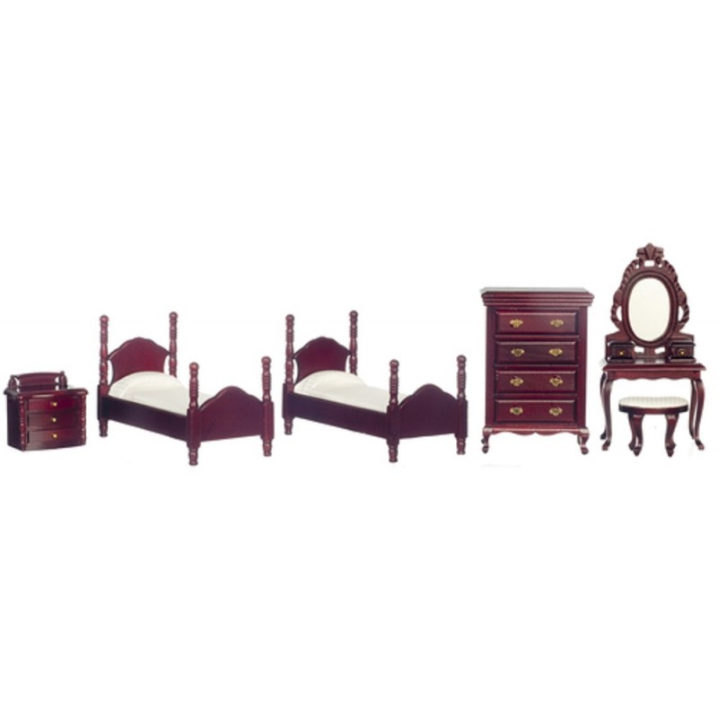 Dolls House Mahogany Bedroom Furniture Set Miniature with Twin Single Beds