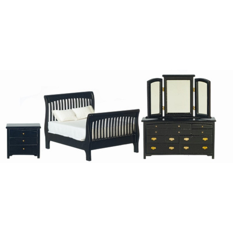 Dolls House Black Double Bedroom Furniture Set with Slatted Sleigh Bed 1:12