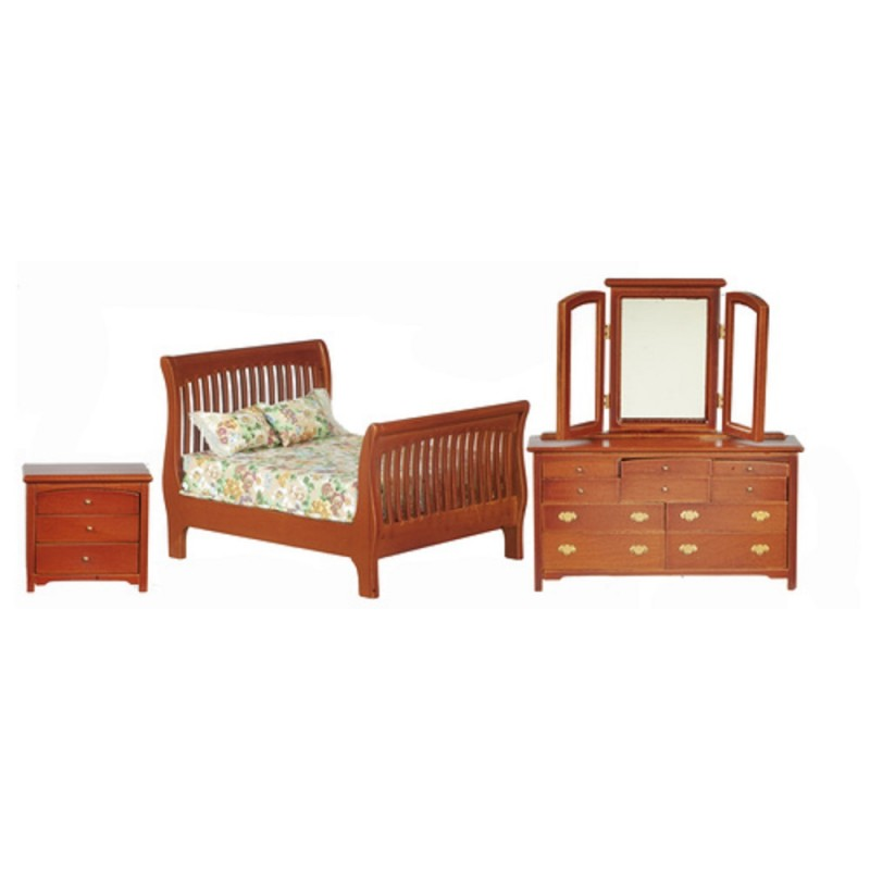 Dolls House Walnut Double Bedroom Furniture Set with Slatted Sleigh Bed 1:12