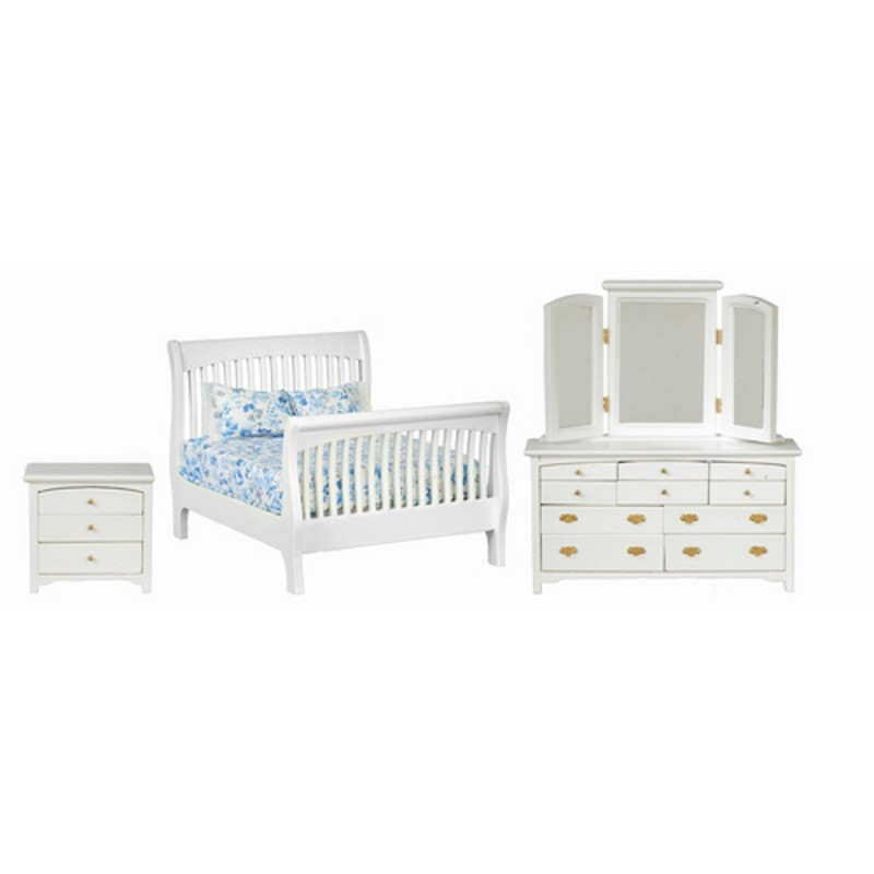 Dolls House White Double Bedroom Furniture Set with Slatted Sleigh Bed 1:12