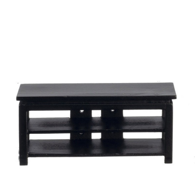 Dolls House Modern Black Low TV Cabinet Stand MINIATURE Living Room Furniture