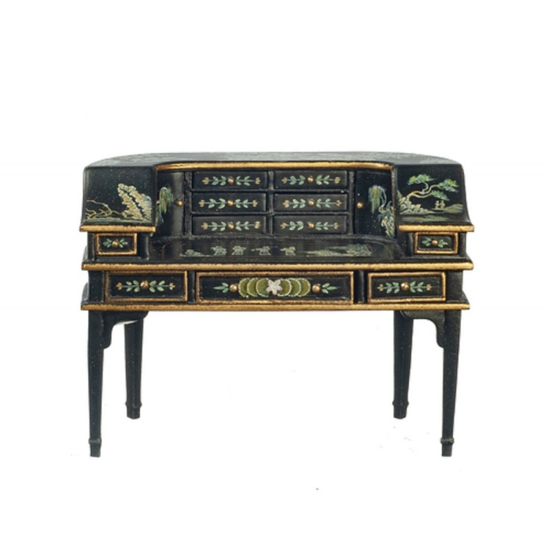Dolls House Black & Gold Hand Painted Chinoise Writing Table Desk JBM Furniture