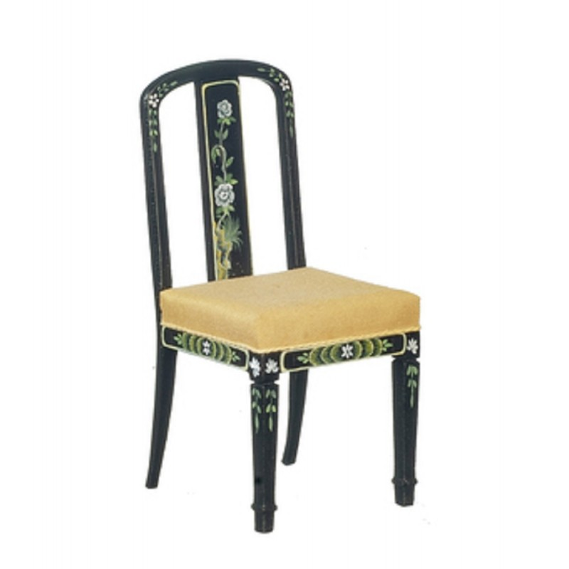 Dolls House Black & Gold Hand Painted Chinoise Desk Chair JBM Study Furniture