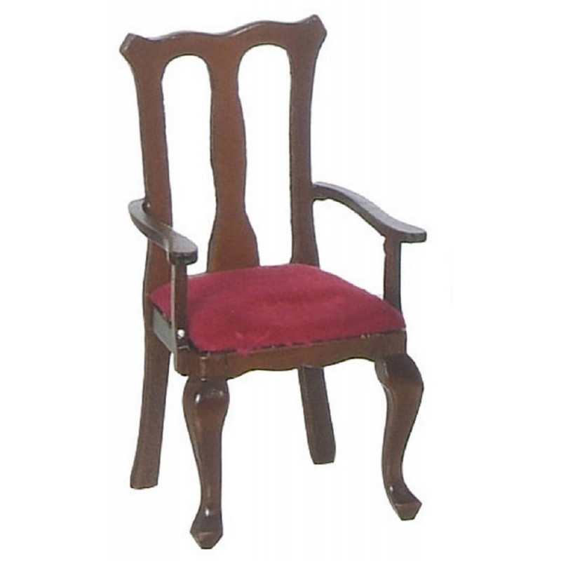 Dolls House Walnut & Red Queen Ann Carver Chair Miniature Dining Room Furniture