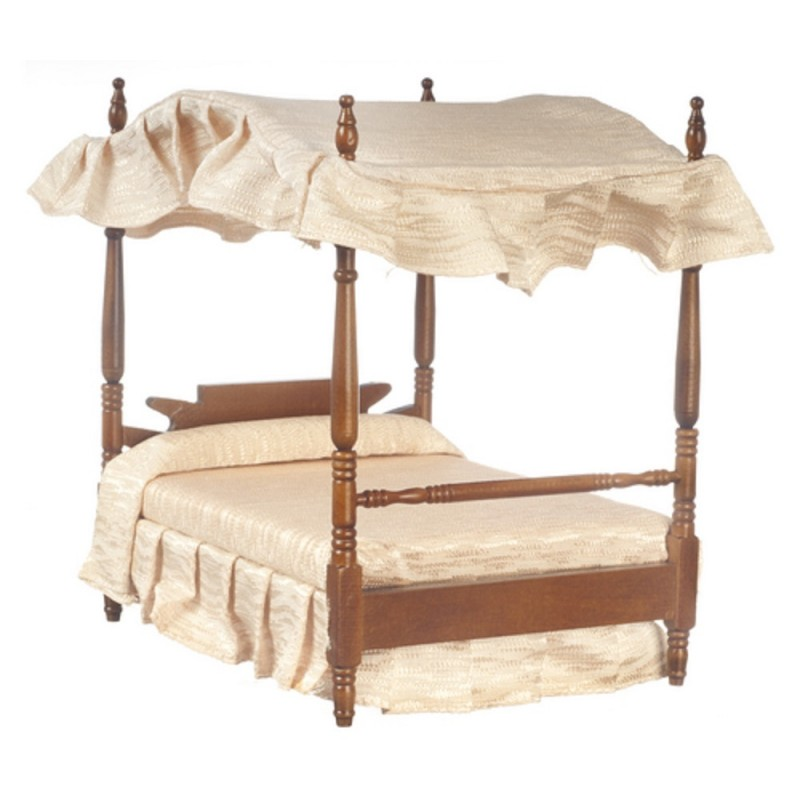 Dolls House Walnut Double 4 Poster Canopy Bed Miniature 1:12 Bedroom Furniture