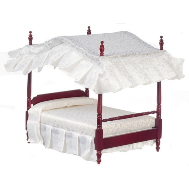 Dolls House Mahogany Double 4 Poster Canopy Bed Miniature 1:12 Bedroom Furniture