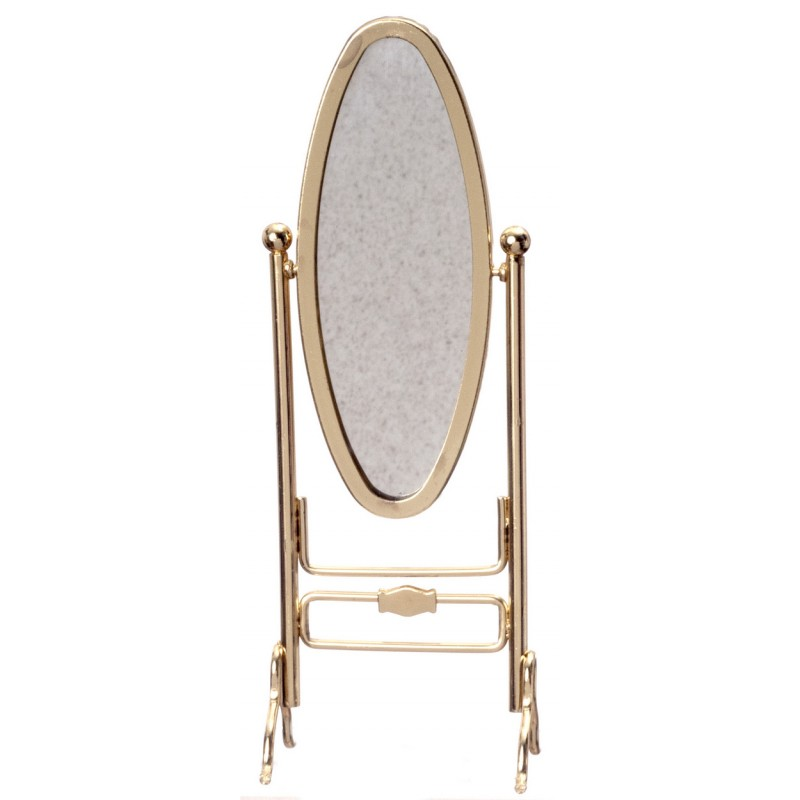 Dolls House Brass Gold Cheval Dressing Mirror Dressmaker Shop Bedroom Furniture