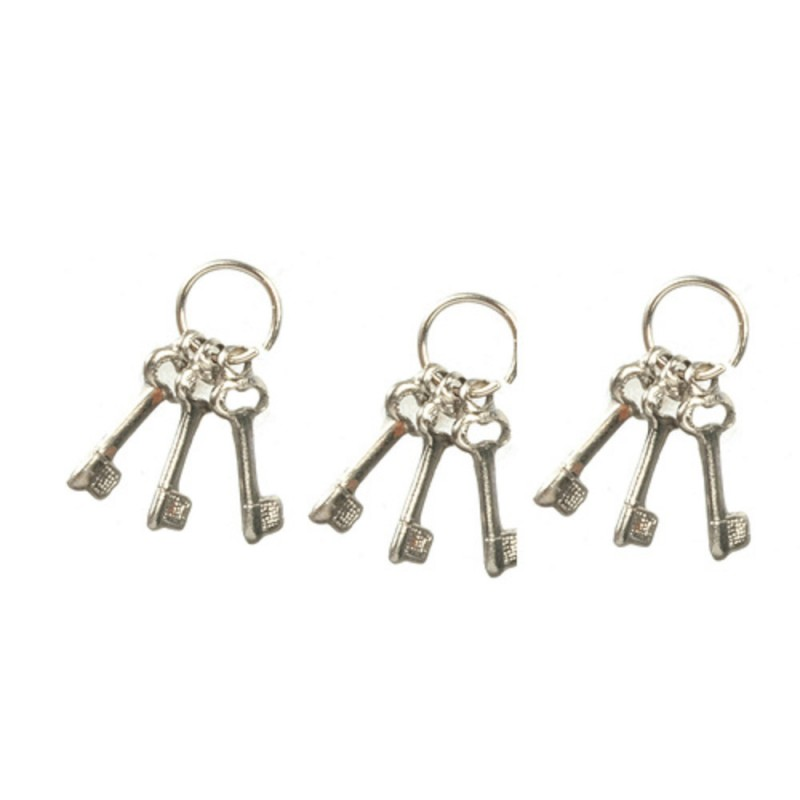 Dolls House Key Ring Bunch of Silver Keys Miniature 1:12 Accessory Set of 3